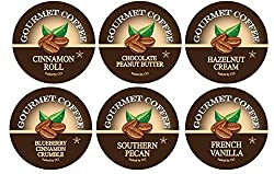 Smart Sips Coffee, Flavor Lovers Coffee Variety Sampler Pack- Blueberry Cinnamon Crumble, Cinnamon Roll, Chocolate Peanut Butter, Southern Pecan, French Vanilla, Hazelnut Cream- Single Serve Beverage Cups Compatible with Keurig K-cup Brewers, 24 Ct from S