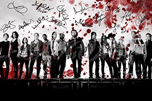 The Walking Dead Cast sangue Arte Pre firmato Stampa fotografica Poster N.O 530,5x 20,3cm (A4)