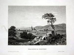Freiburg im Breisgau Ansicht Panorama view Stahlstich engraving