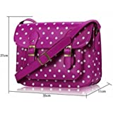 Womens Purple Spotty Satchel Shoulder Handbag