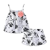 Mud Kingdom Little Girls Outfits Summer Holiday Floral Halter Tops and Short Clothes Sets 5