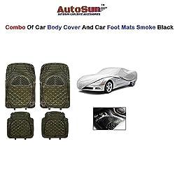 AutoSun Car Body Cover/ Car Foot Mats Set of 4 Pc Smoke Black Maruti Suzuki - Alto (Old)
