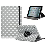 360 Degree Rotation Pu Leather Case for Ipad Mini Gray Background White Dots