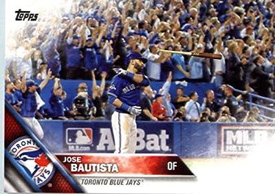 2016 Topps #96 Jose Bautista Toronto Blue Jays Baseball Card in Protective Screwdown Display Case