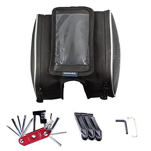 WOTOW Bike Repair Bag Set, Cycling Frame Pannier Phone Bag Bicycle Front Top Tube 5 inch Mobile Phone Touchscreen Holder Saddle Bag with 14 in 1 Multi Function Tool Kit Chain Splitter Repair Tools (Bicycle Saddle Bag Repair Kit compare prices)
