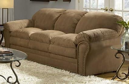Holliston Microfiber Sofa in Brown Fabric: Brown Microfiber