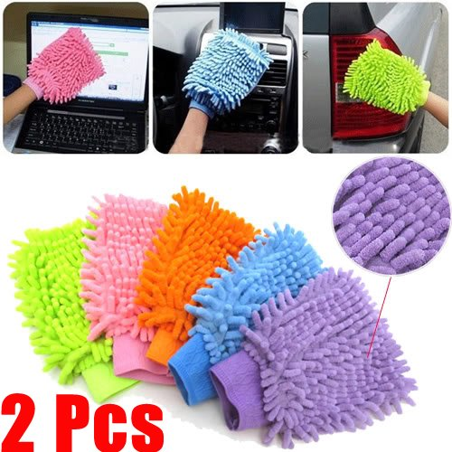 Easygoby 2X Super Mitt Microfiber Soft Fiber Car Glove Cleaning Cloth Wash Washing Towel