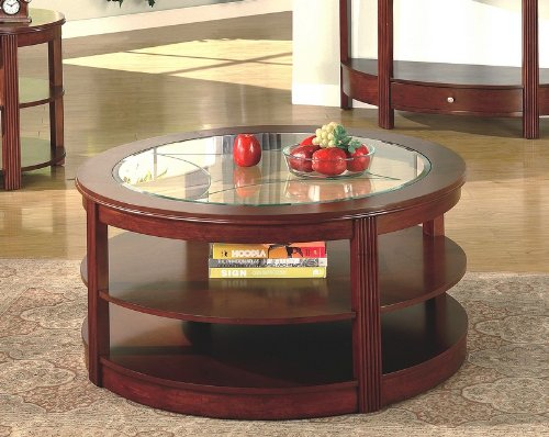 Save 32 On Contemporary Cherry Finish Round Storage Coffee Cocktail Table Round Coffee