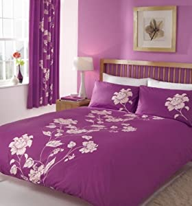 chantilly violet parure de lit 2 personnes housse de couette 200 x 200 cm 2x taie 50x75. Black Bedroom Furniture Sets. Home Design Ideas