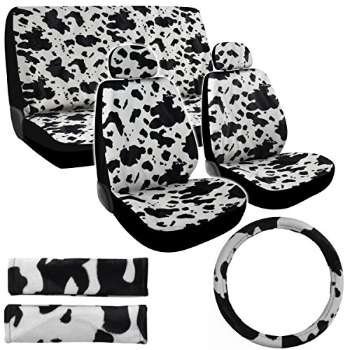 Bdk Premium 11Pc Safari Print Low Back Front Car Seat Rear Bench Head Rest Covers Set For Car Truck Suv (Cow White)