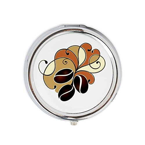 Round Pill Box With Mirror Coffee Bean Floral