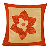 BIG LILY FLOWER PATCH CUSHION COVER RUST & BEIGE 1 PC (40 X 40 CMS)