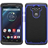 Motorola DROID Turbo Case - Armatus Gear (TM) Slim Defender Hex Grid Hybrid Armor Case Impact Resistant Protector Cover For Motorola DROID Turbo Verizon XT1254 (Not Compatible With Ballistic Nylon Version) - Blue