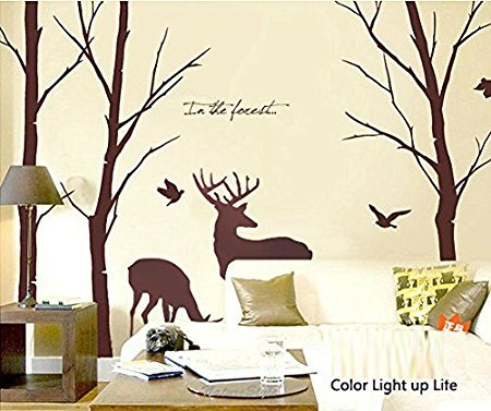 Cukudy Deer Wall Decals Nature Brown Wall Decals Birch Tree Nursery Wall Stickers (Trees are 6 feet tall) (Brown Decal Wall Stickers compare prices)