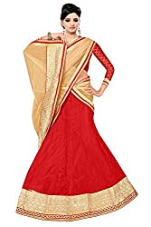 Pushty Fashion red and Cream Embroidered net Lehnga