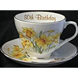 80th birthday gift cup and saucer in Bone China in the Daffodil pattern