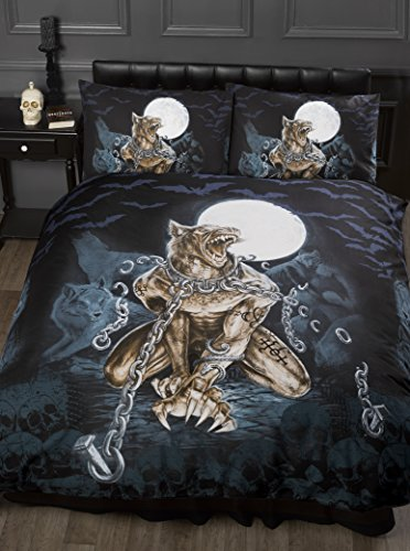 Double Bed Loups Garou, Alchemy Gothic Duvet / Quilt Cover Bedding Set, Werewolf, Full Moon, Wolf, Skulls, Bats, Graveyard, Chains, Black, Blue, Brown, White