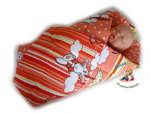 Blueberry Shop Newborn Baby Swaddle Wrap Blanket Duvet Sleeping Bag Baby's Horn Cream Pink
