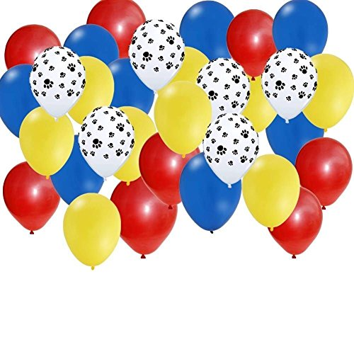 30-pc-Set-Paw-Party-Balloons-Red-Yellow-Blue-Paw-Print
