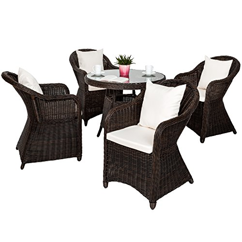 tectake luxus alu polyrattan garten sitzgruppe 4. Black Bedroom Furniture Sets. Home Design Ideas