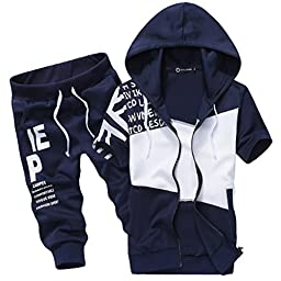 Magiftbox Men\'s Jogger Harem Capri Cropped Pants Short Sleeve Hoodie Tracksuit