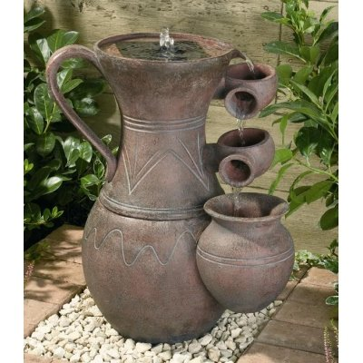 Smart Solar 24350M01 Terracotta Effect Resin Pitcher Cascade Solar-On-Demand