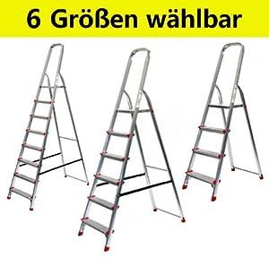 Alu Stehleiter ECO Serie  6 Größen wählbar (3 bis 8stufig), 7stufig  BaumarktÜberprüfung und Beschreibung