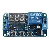 オートメーションリレー,SODIAL(R)オートメーションDC 12V LEDディスプレイ デジタルディレイタイマー コントロールスイッチ リレーモジュール