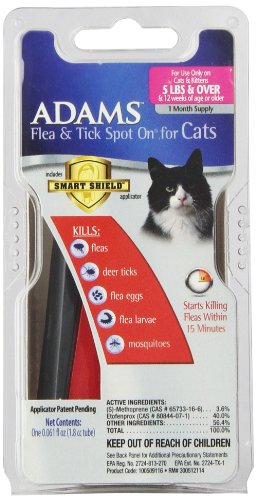 Adams Flea And Tick Spot On For Cats 5-Pound And Over With Smart Shield Applicator, 1 Month Supply
