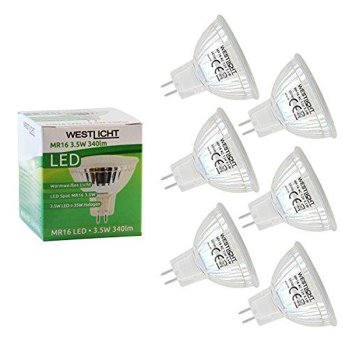 6x Westlicht MR16 GU5.3 3.5W | Pacchetto Offerta! | 120° SMD LED Luce spot | AC o DC 12V / 3.5W 340lm bianca calda