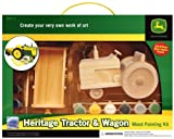 MasterPieces / Paint Your Own Wooden John Deere Heritage Tractor and Wagon