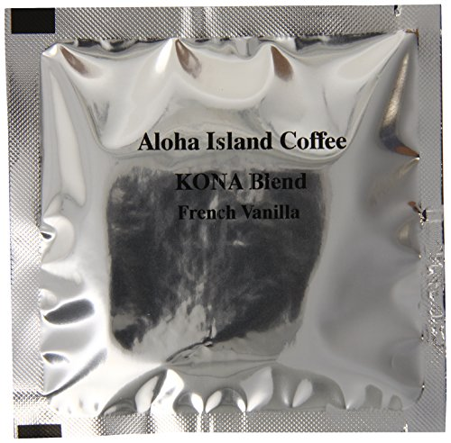 Aloha Island Coffee Kona-Pod, French Vanilla Medium Roast, Kona & Hawaiian Coffee Blend, 18-Count Coffee Pods
