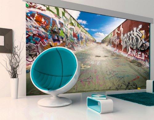 fototapete papier graffiti half pipe 400x280cm skater skates board spr hen. Black Bedroom Furniture Sets. Home Design Ideas