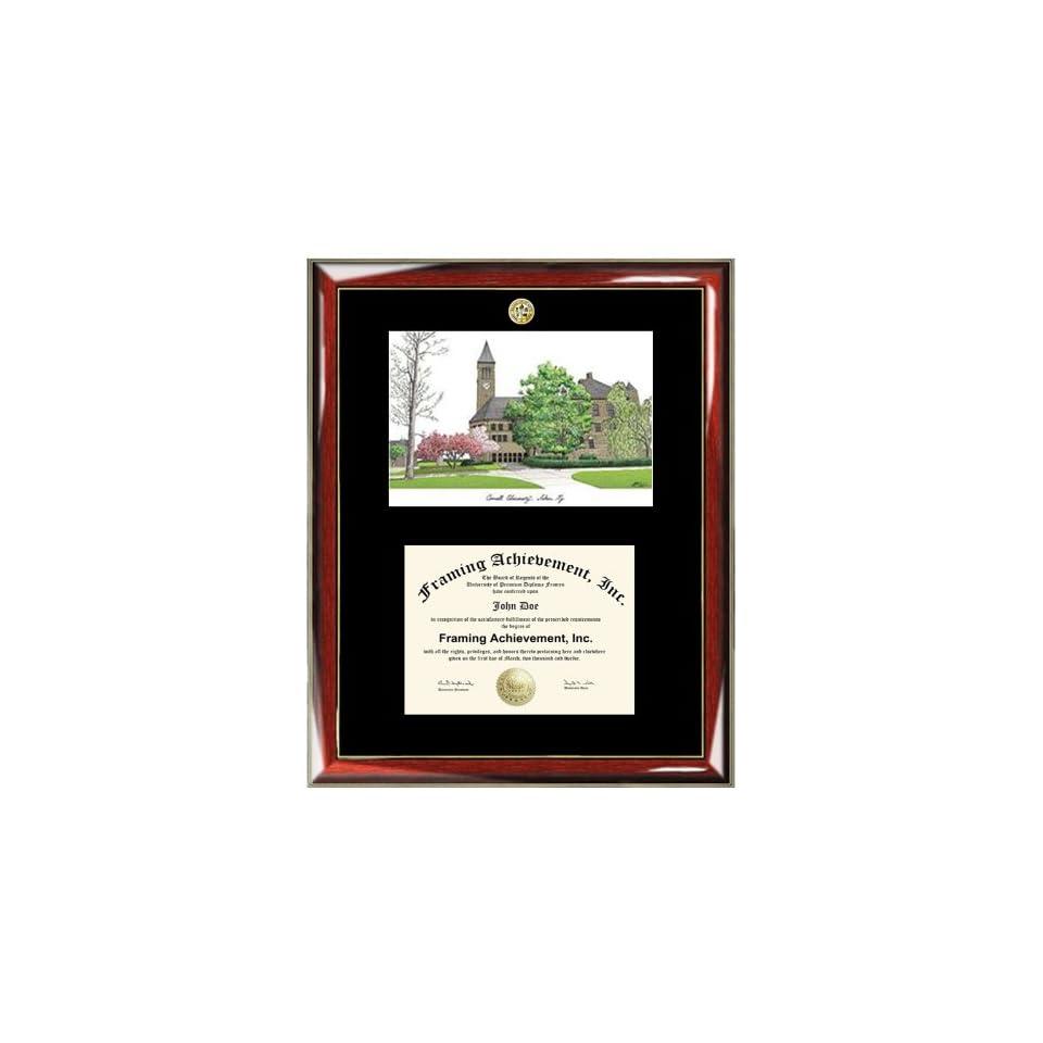 Premium Wood Glossy Prestige Mahogany with Gold Accents Bellarmine University Diploma Frame Lithograph Single Black Mat University Diploma Frame