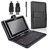 SANOXY 7 INCH TABLET STAND WITH MICRO USB KEYBOARD, VEGAN PU LEATHER USB KEYBOARD CASE/COVER STAND FOR ANDROID 7 INCH TABLET PC (7 INCH TABLET BLACK)