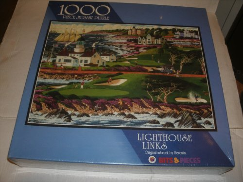 LIGHTHOUSE LINKS 1000 piece jigsaw puzzle , original artwork by Heronim - 1