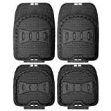 OxGord® 4pc Full Set Deep Dish Heavy Duty Rubber Floor Mats, Universal Fit for Car, SUV, Van & Trucks (Black)