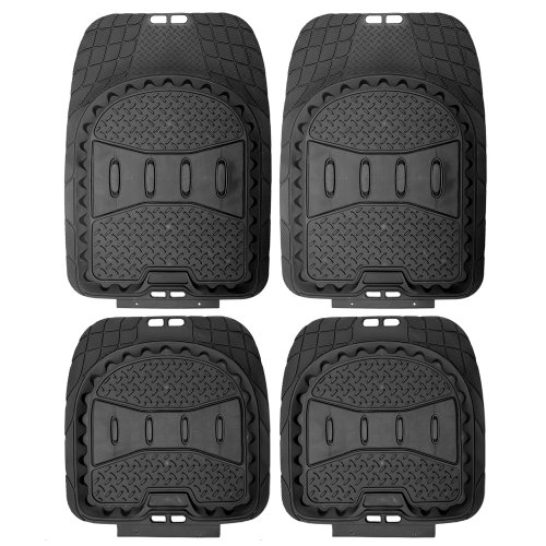 OxGord 4pc Set Deep Dish Heavy Duty Rubber Floor Mats - Black (Ford Focus Floor Mats 2005 compare prices)