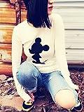 大きいサイズ 3XL ミッキー ロング Tシャツ 白 黒 長袖 キャラクター レディース (白)