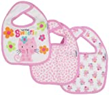 Gerber Baby-Girls  3 Pack Terry Dribbler Bib Cat, Pink, One Size