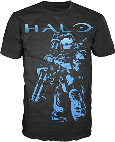 Halo-Blue-Soldier-XBox-Adult-Mens-T-shirt-Black