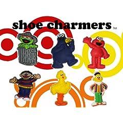 Sesame Street Shoe Charms 6 pc Set - Jibbitz Croc Style : Elmo Big Bird Cookie Monster Bert & Ernie Oscar