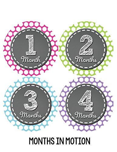 Months in Motion 073 Monthly Baby Stickers Baby Girl Month 1-12 Milestone Age - 1