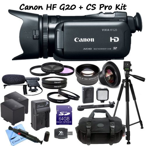 Canon Vixia Hf G20 Full Hd Camcorder Cs Documentary Kit: Includes Full Size Aluminum Tripod With Case, Boom Microphone, 64Gb Sdxc Memory Card, Sd Card Reader, 2 Canon Bp827 Replacement Batteries, Rapid Travel Charger, Led Video Light, High Definition Wide