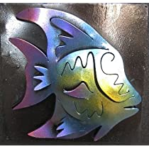 Tropical Angel Fish Mini Metal Wall Art Frame