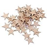 品】人気 木材チップ 結婚式 パーティー 撮影用 小物 カード 装飾 工芸品 DIY 木のスライス 星型 40mm