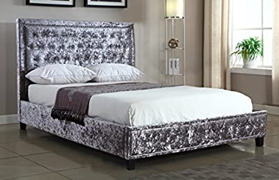 Silver Crushed Velvet Upholstered Designer Bed Frame 5ft Kingsize With Studded Headboard