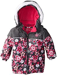 Rugged Bear Baby Girls\' Floral Printed Puffer, Grey, 18 Months