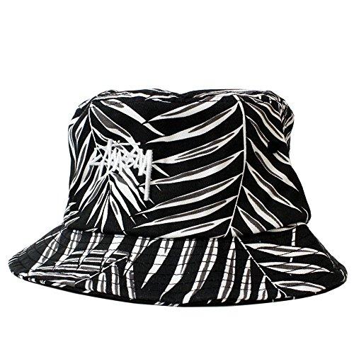 STUSSY (ステューシー) 【ユニセックス】 バケットハット パーム ロゴ 刺繍 ハット 帽子 PALM BUCKET HAT (BLACK ブラック) 132648 (L/XL(約58cm))