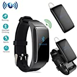 2 in 1 DF22 Bluetooth Headset Smart Bracelet Handsfree Smart watch Fitness Headset Earphone for Android (Black)